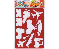 Трафарет Koh-i-Noor Транспорт 310x200 мм пластик червоний (9820/4)