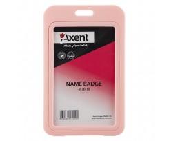 Бейдж Axent вертикальний, PP, рожевий, PVC, 70х110мм (4530-10-a)