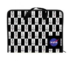 Папка-портфель Kite NASA на блискавці А4 чорно-біла (NS21-202)