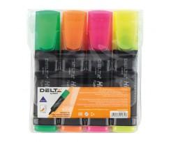 Комплект з 4-х маркерів Axent Delta Highlighter 1-5 мм асорті (d2501-40)