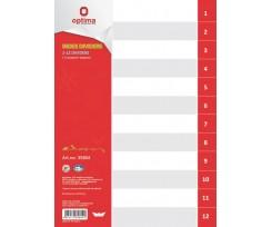 Роздільник аркушів Optima цифровий А4 12 розділів пластиковий (O35804)
