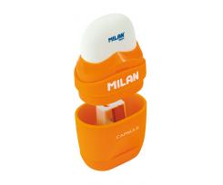 Гумка + підстругачка MILAN CAPSULE FLUO, біло-помаранчовий, 61х32х30 мм (ml.4705116)