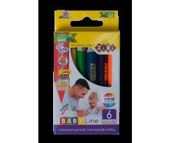 Кольорові олівці Zibi mini Jumbo 5 мм 6 штук асорті (ZB.2450)