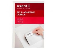 Етикетки Axent з клейким шаром, 105*37 см,16 шт на аркуші А4, 100 аркушів, білі (2463-a)
