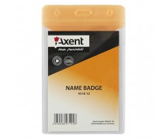 Бейдж Axent вертикальний, глянцевий, помаранчевий, PVC, 80х125мм (4516-12-a)