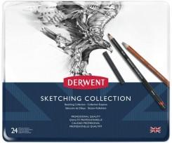 Набір з 24-х матеріалів для графіки Derwent з гумкою і точилкою 2.8 мм чорний (34306)