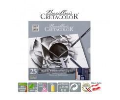 Набір матеріалів для графіки Cretacolor BLACK&WHITE в металевій коробці 25 шт (40026)