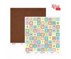 Папір для скрапбукінгу ROSA TALENT Cake delicious 4 двосторонній 30х30 см 200 г/м2 (5316022)