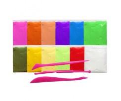 Моделін-пластилін Kidis 12 кольорів, по 15 грам, у пакеті зі стеками (7396)