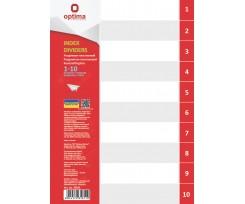 Роздільник аркушів Optima цифровий А4 10 розділів пластиковий (O35811)