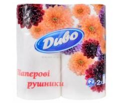 Рушник Диво 23х25 см 2-х шаровий 2 рулони білий (рп.дв2б)
