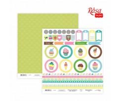 Папір для скрапбукінгу ROSA TALENT Cake delicious 6 двосторонній 30х30 см 200 г/м2 (5316024)