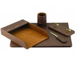 Набір настільний CABINET 5 предметів штучна шкіра коричневий (O36472)