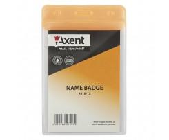 Бейдж вертикальний Axent 80x125 мм PVC помаранчевий (4518-12-A)