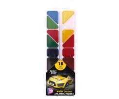 Акварель медова Cool For School Racing League, 18 кольорів, без пензлика, асорті  (CF60142)