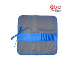 Пенал для пензлів ROSA Studio 37х37см., тканина, асфальт+синій (231103)