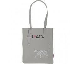Сумка на плече Zibi Cat Lover 29x35x3 см сірий (ZB.702403)