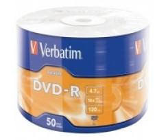 Диск DVD-R Verbatim 4.7Gb,16х, Wrapped Matt Silver, Srink 50шт. (d.43791)
