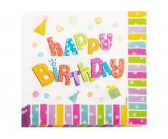 Набір двошарових серветок Maxi Happy Birthday 33х33 см 20 штук білі (MX446100)