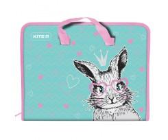 Папка-портфель Kite Cute Bunny на блискавці А4 рожево-бірюзова (K21-202-01)