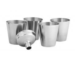 Набір туристичного посуду Cabinet 4 стакани з воронкою срібний (O51683)
