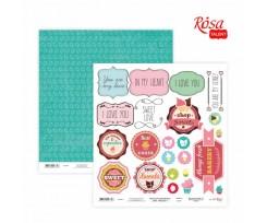 Папір для скрапбукінгу ROSA TALENT Cake delicious 3 двосторонній 30х30 см 200 г/м2 (5316021)