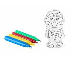 Набір для розфарбовування Maxi Дівчинка+4 фломастери білий (MX63014)