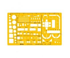 Архітекторський трафарет Rotring, 190х95 мм, пластик, жовтий (S0238781)