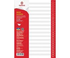 Роздільник аркушів Optima цифровий А4 31 розділ пластиковий (O35805)