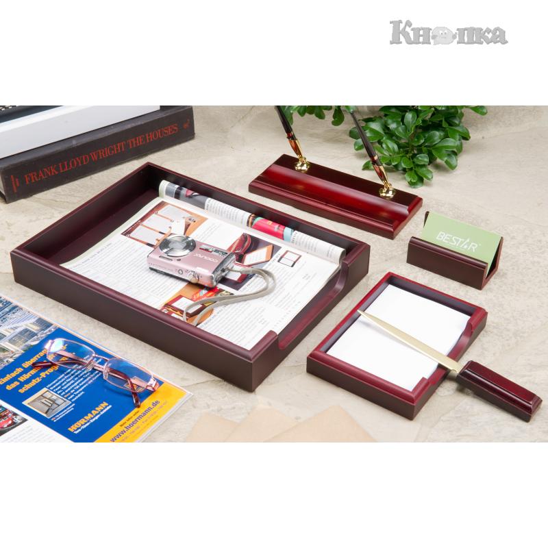 Набір настільний дерев'яний Bestar 5 предметів, червоне дерево (5159XDU)