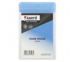 Бейдж Axent вертикальний, матовий, блакитний, PVC, 80х125мм (4518-07-a)