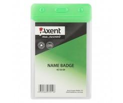 Бейдж вертикальний Axent 80x125 мм PVC зелений (4518-04-A)