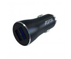 Автомобільний зарядний пристрій Aspor A918 metal блочок, 2usb, 3,4А, LED чорний (71782)