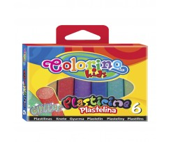 """Пластилін Colorino """"З блиском"""", 100 г, 6 кольорів (42697PTR)"""
